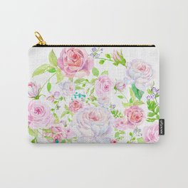 Bouquet of PINK & WHITE rose - wreath Carry-All Pouch