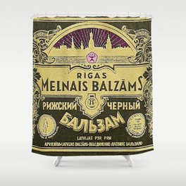 Vintage 1950 Rigas Melnais Balzams Wine Bottle Pink-Fushia Label Shower Curtain
