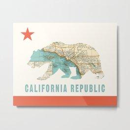 California Bear Flag with Vintage Map Metal Print