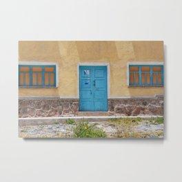 Bolivia door 7 blue on yellow Metal Print