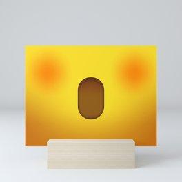 Shocked Scared Open Mouth Cute Yellow Emoji Face Mini Art Print