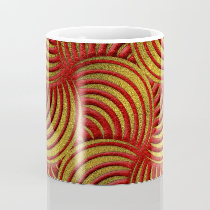 Red Leather and Gold Circulate Wave Pattern Coffee Mug