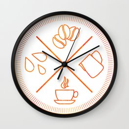Four Elements of Cappuccino Pictogram Wall Clock