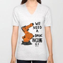 Robot basic income Unisex V-Neck