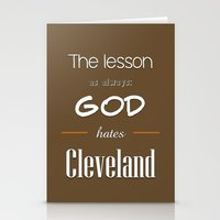lebron Stationery Cards featuring God Hates Cleveland by thebuccanear