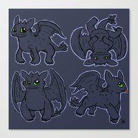toothless Canvas Prints featuring Toothless  by Magen Works