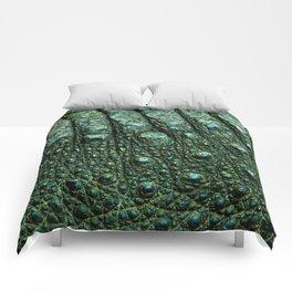 Green Alligator Leather Print Comforters