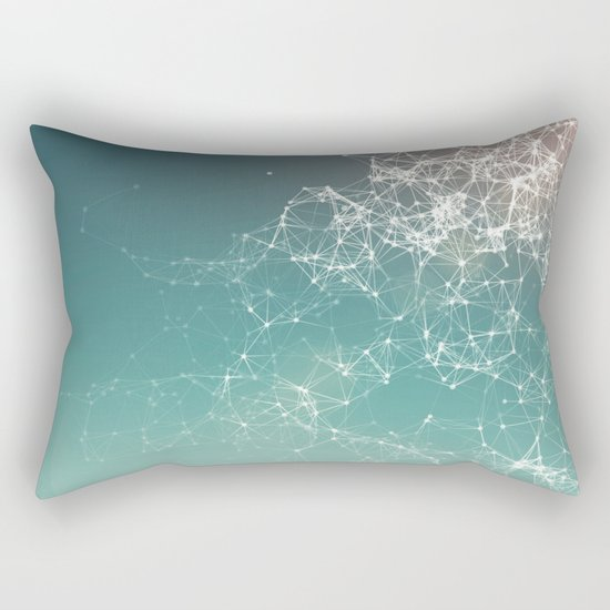 Fresh summer abstract background. Connecting dots, lens flare Rectangular Pillow