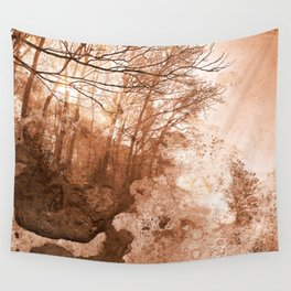 Acrylic Grunge Forest - Sepia Haze Wall Tapestry