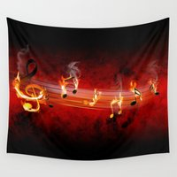 music notes Wall Tapestries featuring Hot Music Notes by FantasyArtDesigns
