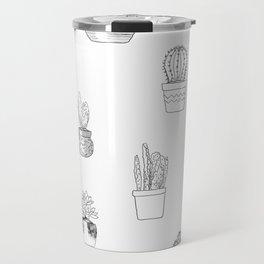 Potted Cactus Pattern Black and White Travel Mug