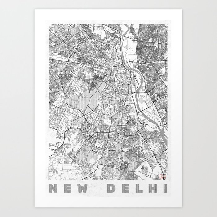 new delhi map line art print by hubertroguski society6new delhi map line art print