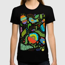 Spring Abstract Ferns Flowers and Song Birds T-shirt