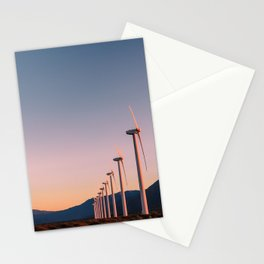 California Desert Windmills at Sunset with Mountain Vistas Stationery Cards