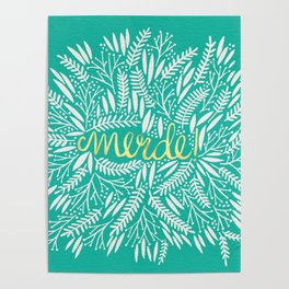 Pardon My French – Gold on Turquoise Poster
