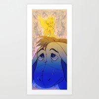 eeyore Art Prints featuring Tink and Eeyore by MistyTang