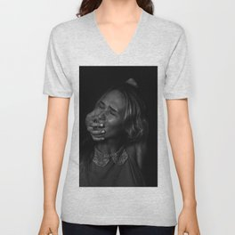 Angry woman on dark background Unisex V-Neck