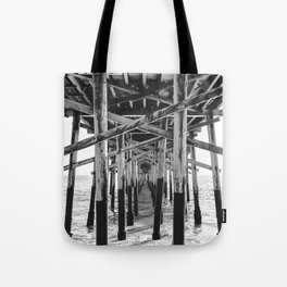 Balboa Pier Print {3 of 3} | Newport Beach Ocean Photography B&W Summer Sun Wave Art Tote Bag