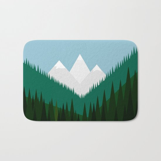 Pacific Northwest Mountains Bath Mat