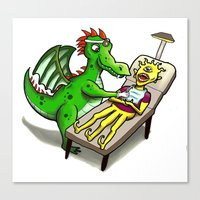 dentist Canvas Prints featuring Dragon Dentist by Tory Erpenbeck