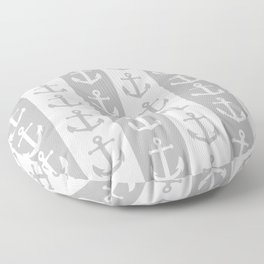 Nautical Sailor Stripes with Anchor Pattern Gray 241 Floor Pillow
