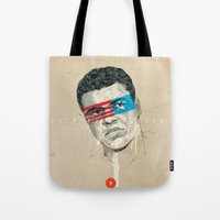 superheroes Tote Bags featuring Superheroes SF by Blaine Fontana