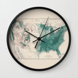 1883 USA Map of Density of Forests Wall Clock