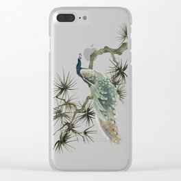 Turquoise Peacock Clear iPhone Case