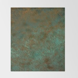 Green Patina Copper rustic decor Throw Blanket