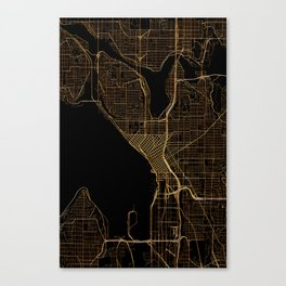 Black and gold Seattle map Canvas Print