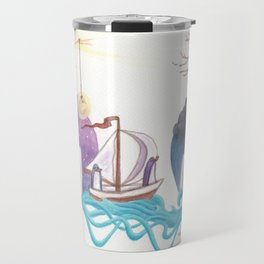 Girl With Dreamy Lighthouse Sending Ocean to Boy with Caged Heart Travel Mug