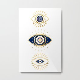 evil eye times 3 navy on white Metal Print