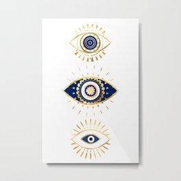 evil eye times 3 navy on white Metal Print