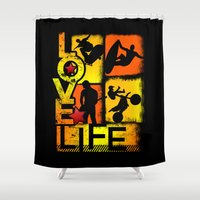 sports Shower Curtains featuring Love Life Extreme Sports  by Dre' J - Cyncor Artworks