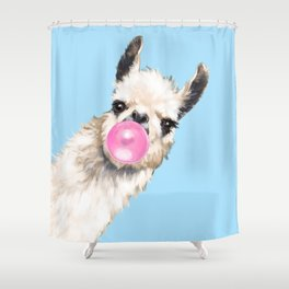 Bubble Gum Sneaky Llama in Blue Shower Curtain