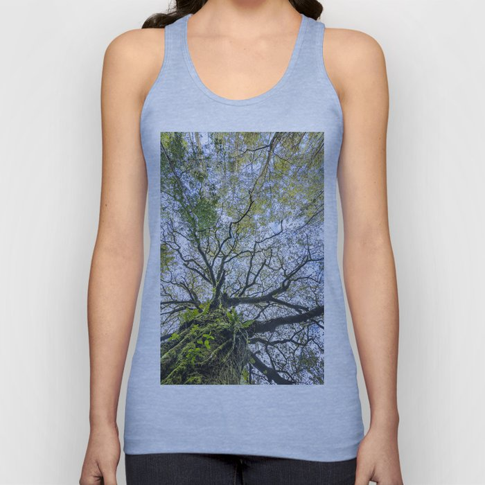 Centenary oak with the trunk covered in moss and green plants Unisex Tank Top