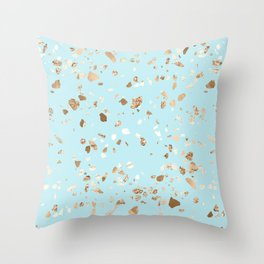 Blue Gold Modern Terrazzo Throw Pillow
