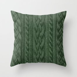 Pine Green Cable Knit Throw Pillow
