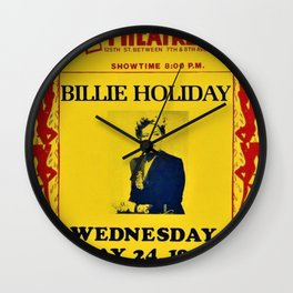 1944 Billie Holiday Concert Poster Apollo Theater Wall Clock