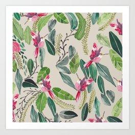 Bird Garden Vintage Art Print