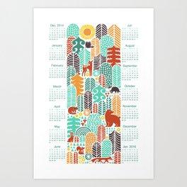 forest friends calendar Art Print