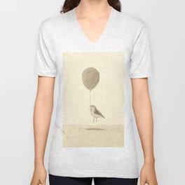 bird with a balloon Unisex V-Neck