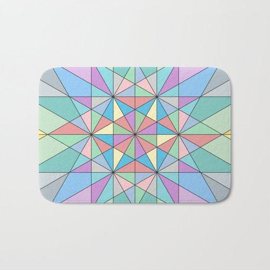 Colorful Pastel Mosaic Triangle Star Bath Mat
