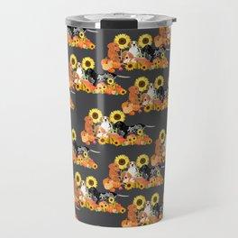 Coonhound Autumn Harvest Grey Travel Mug