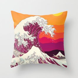The Great Purple wave Orange Sunset Throw Pillow