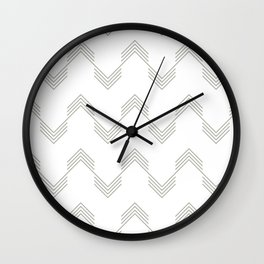 Simply Deconstructed Chevron Retro Gray on White Wall Clock