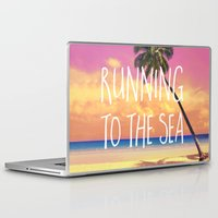 running Laptop & iPad Skins featuring Running to the Sea by Text Guy
