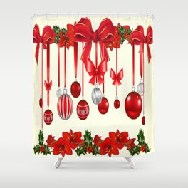 DECORATIVE RED CHRISTMAS ORNAMENTS &  HOLLY BERRIES  ART Shower Curtain