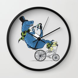 Tandem T-Rex Tastes Tea with Tucan, as Turtle Toils Wall Clock