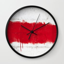Red on White Wall Clock
